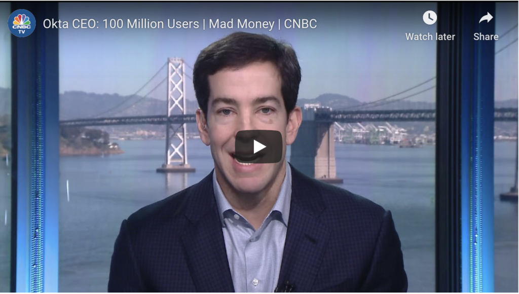 Okta CEO announces 100 Million Users: YouTube video cover image