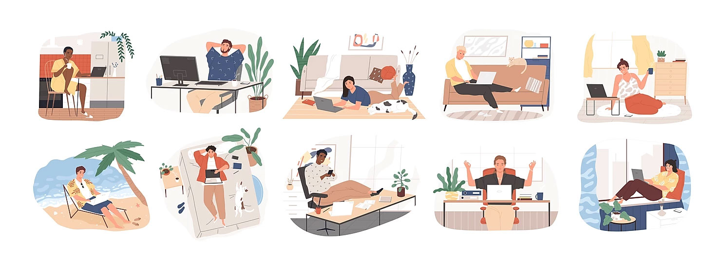 10 Illustrations of people working from home